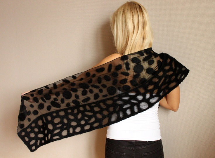 Felted silk scarf '' Black'' with felted wool elements
