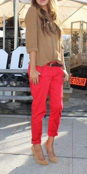 Boyfriend red chinos