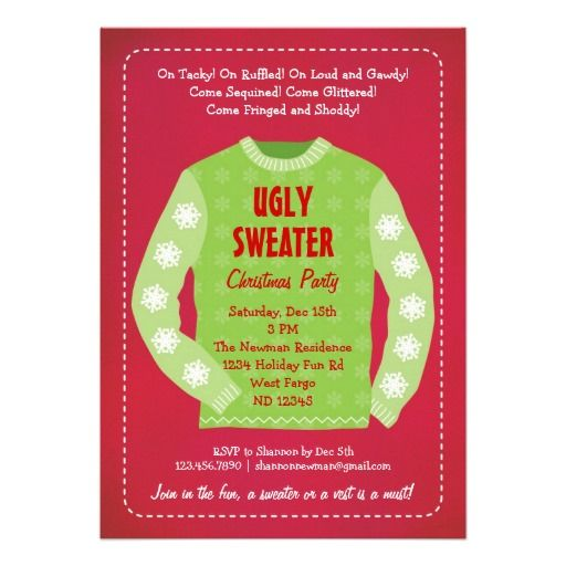 Ugly Sweater Party Invite Wording Sweater Vest