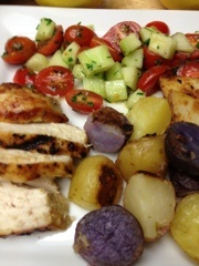 ... My Family: Grilled Chicken And Potatoes With Tomato And Cucumber Salad