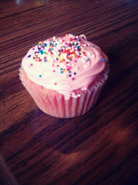 strawberry cupcake with sprinkles