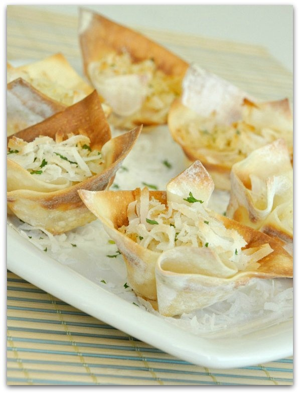 Crunchy Coconut Shrimp Cups | won ton recipes | Pinterest
