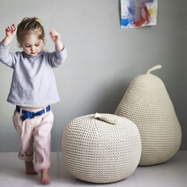 giant crocheted fruit pouffes!