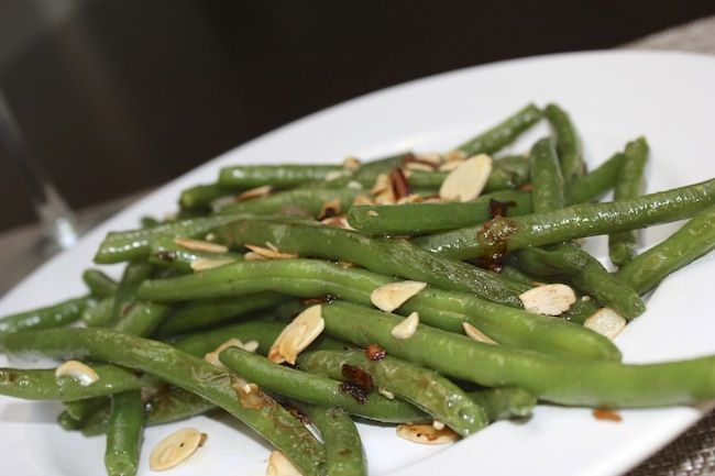 ... } Garlic Sautéed Green Beans with Shallots and Slivered Almonds
