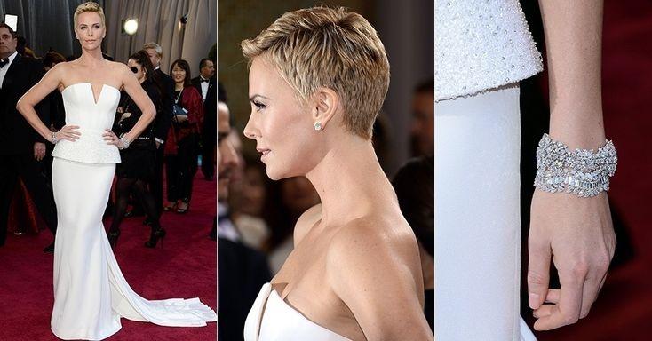 """A atriz Charlize Theron. Vestido Christian Dior com saia estilo """"Peplum"""".. Não gostei.."""