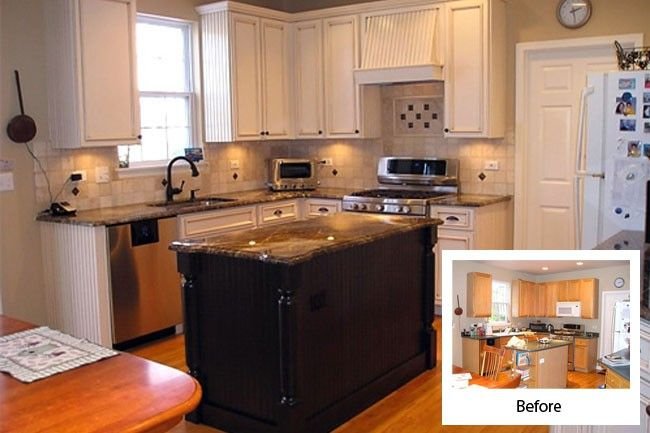 Cabinet refacing before and after kitchen pinterest for Refinishing kitchen cabinets before and after