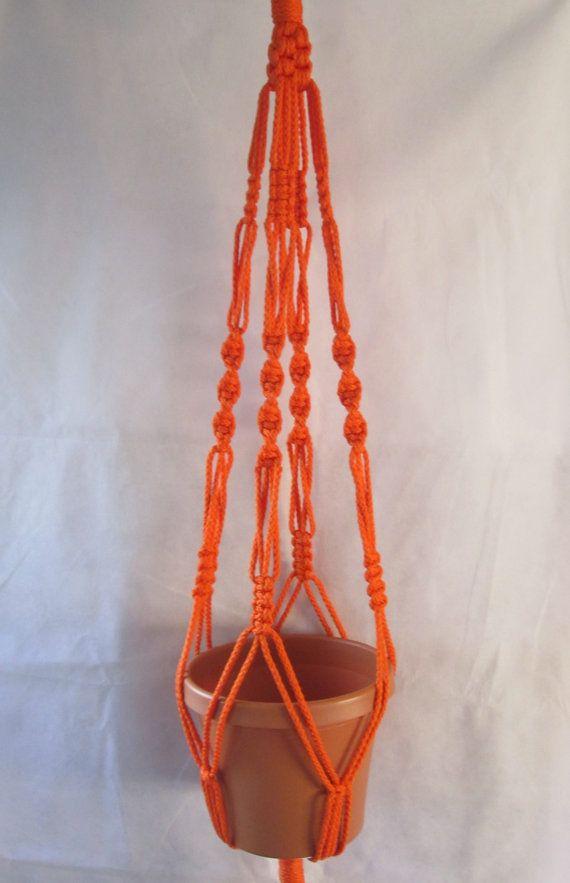 MACRAME Plant Hanger Vintage Style 40 inch 6mm Orange