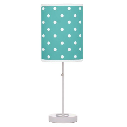 teal polka dots girls room decor table lamp. Black Bedroom Furniture Sets. Home Design Ideas