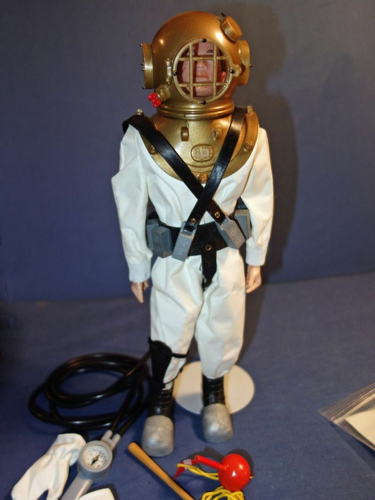 Deep Sea Diving Suit Treasure Chest Compass And Octopus At The Picture