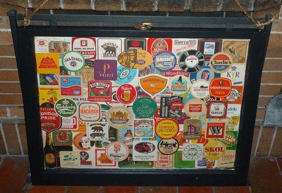 beer coaster display art collage framed window sash