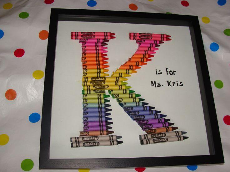 Teacher Gift Crayon Monogram Letter K Crafts Pinterest