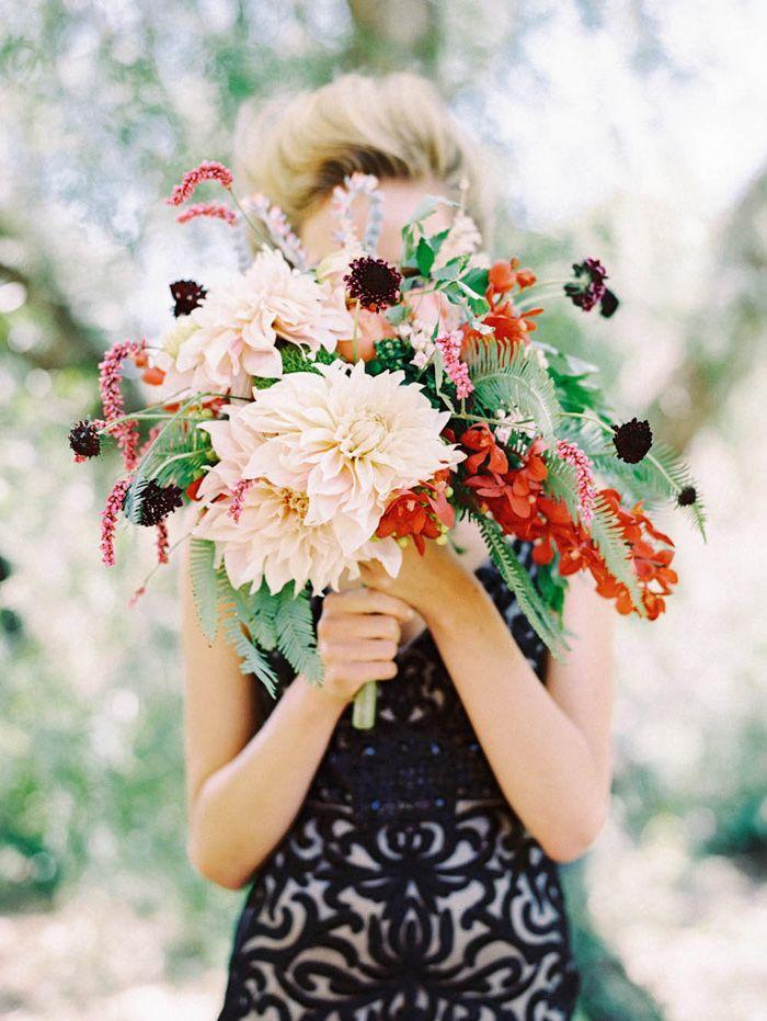 dahlia and fern bouquet