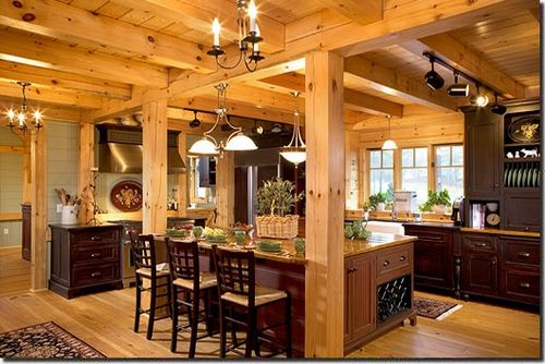 Natural Finish Timber Frame Kitchen Log Homes Cabins