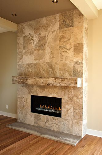 Tiled Fireplace With Mantle Fireplaces Pinterest