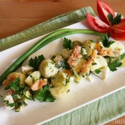 Egg potato salad with smoked salmon | what's for lunch mom | Pinterest