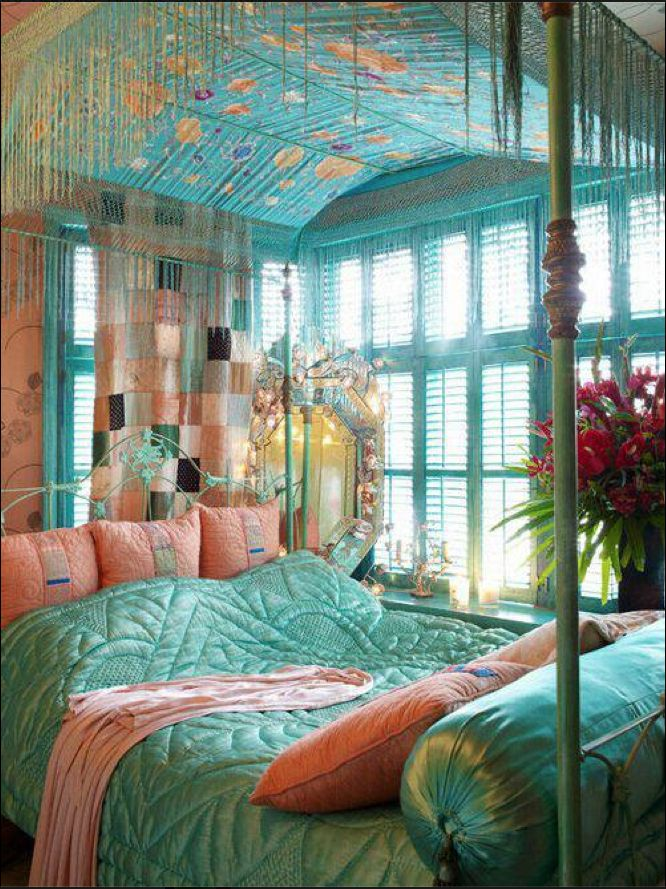 turquoise and peach bed and bedroom pinterest