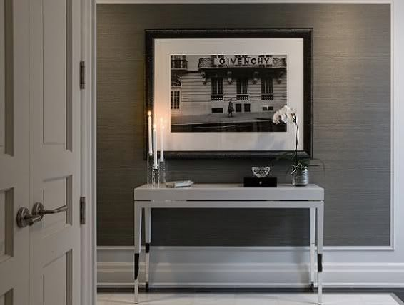 ... Sophisticate: Eye Candy: Grey Grass-Cloth Wallpaper and white molding