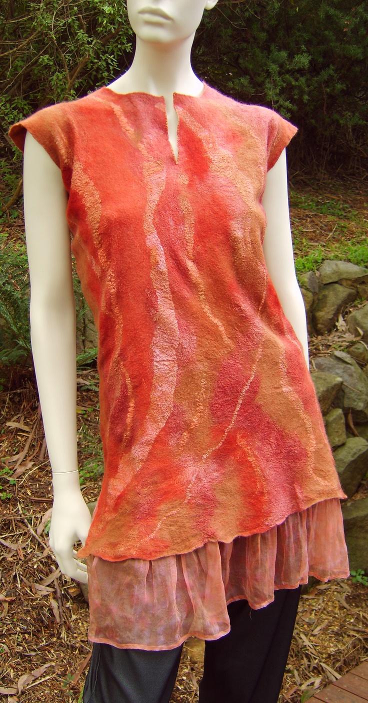 Petticoat Tunic, Nuno felt, merino and silk on silk Georgette made by the very talented Joni Cornell.