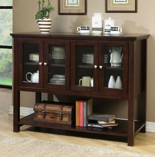 Dark Walnut Finish Wood Glass Doors Cabinet Buffet Dining