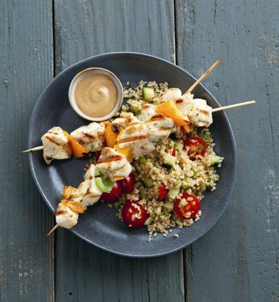 Grilled Chicken Skewers with Spicy Peanut Sauce.