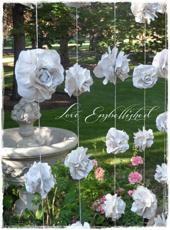 A Curtain Of 7 Garlands Paper Flower Roses From Vintage Books Wedding