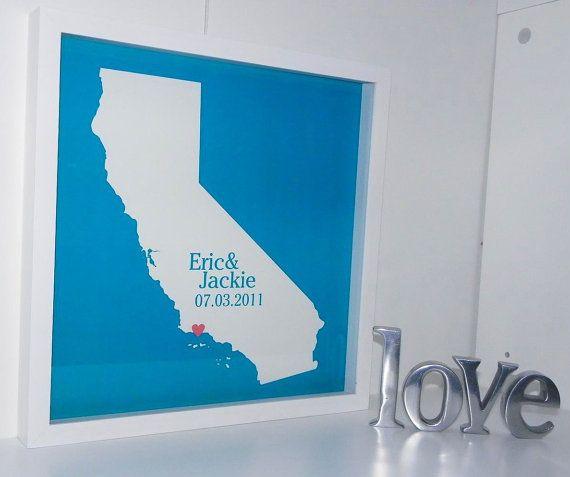 Custom Wedding Gift- FRAMED ART State Heart Map Print KeepsakeAny ...