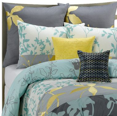 Gray Yellow Blue Bedding Polyvore For The Home Pinterest