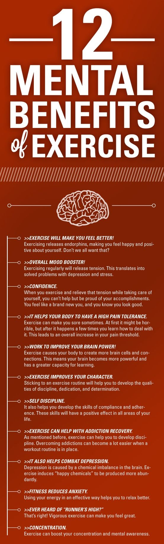 Mental benefits of #Exercise #Infographic