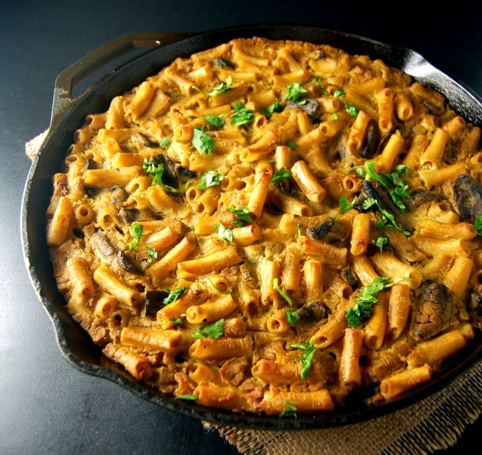 Pasta Gratin with Cauliflower Chickpea Sauce #vegan