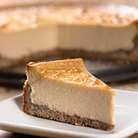 Caramel cheesecake with a pecan crust.