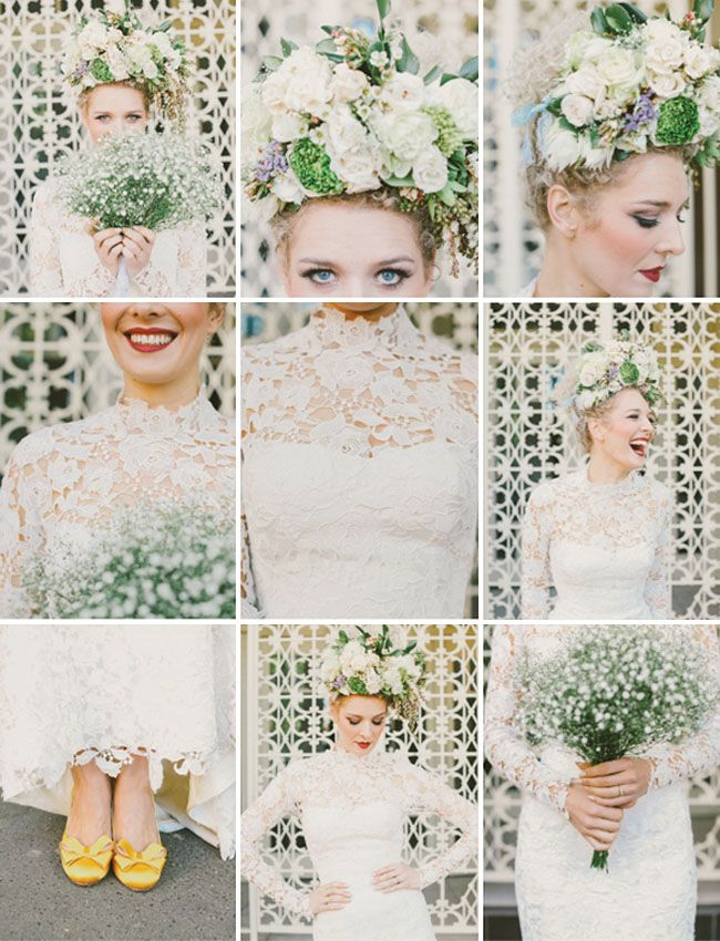 Love the bride's floral crown and lace dress!