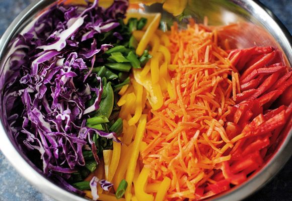 RAW Rainbow Slaw Salad. Great for a summer get-together! (Call it a ...