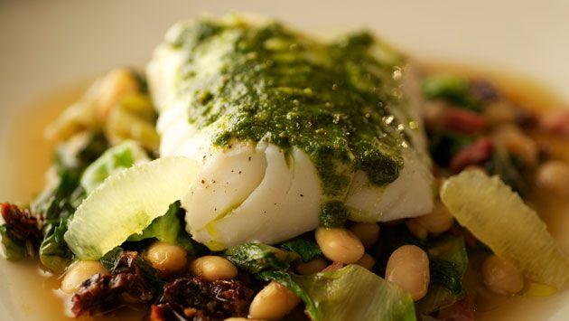 Smoked Cod with Braised White Beans, Escarole Ragout & Pistachio Pesto ...