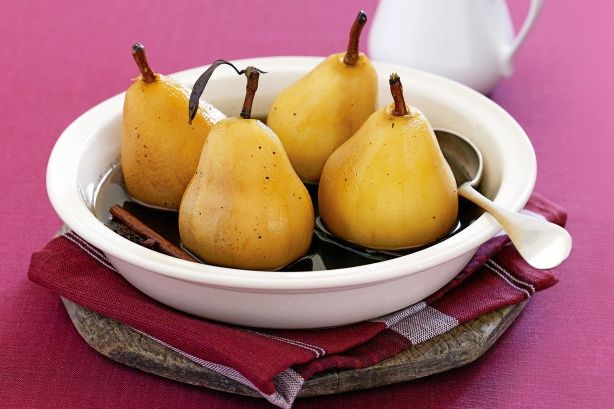 Poached pears in spiced brown sugar syrup