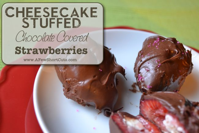 Cheesecake Stuffed Chocolate Covered Strawberries #GlutenFree