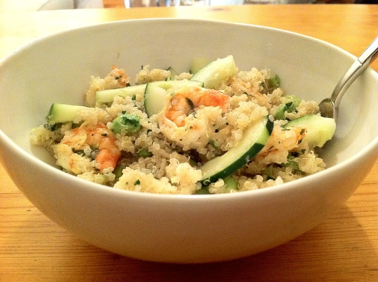 Lime-Ginger Quinoa Salad with Edamame, Cucumbers and Shrimp