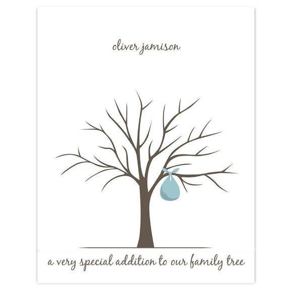printable baby shower fingerprint tree pdf by lovliday on etsy