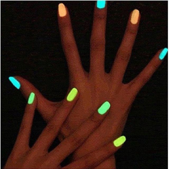 Break a glow stick put in clear nail polish.