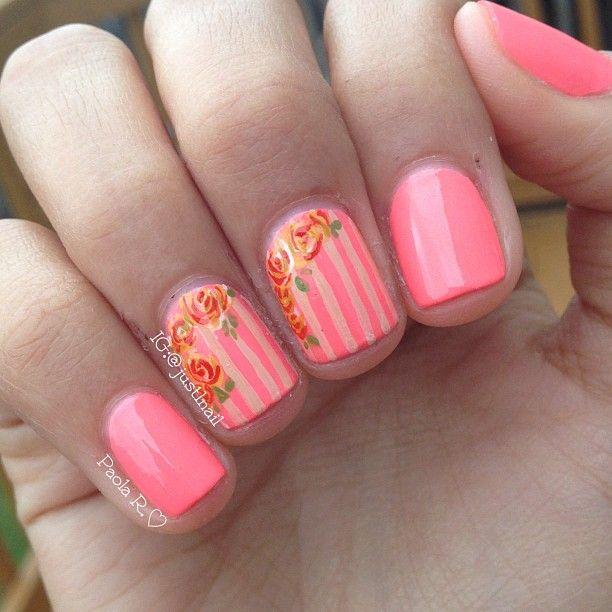 Coral nail art   Mani/Pedi   Pinterest