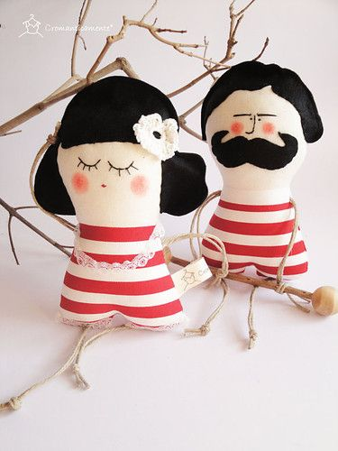 couple of old fashioned fragrant man and his wife - handmade in italy -