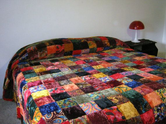 Vintage 70s Hippie Boho Velvet Patchwork Quilted King Size Bedspread // Took it right off the Waterbed at local estate sale on Etsy, $55.00