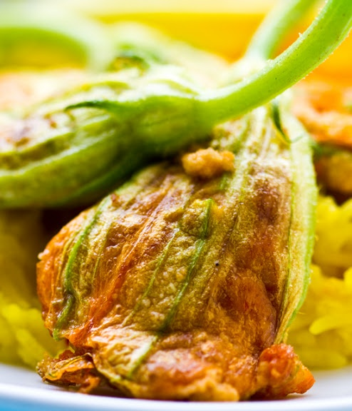 Cashew Cheese Stuffed Squash Blossoms, Lightly Fried