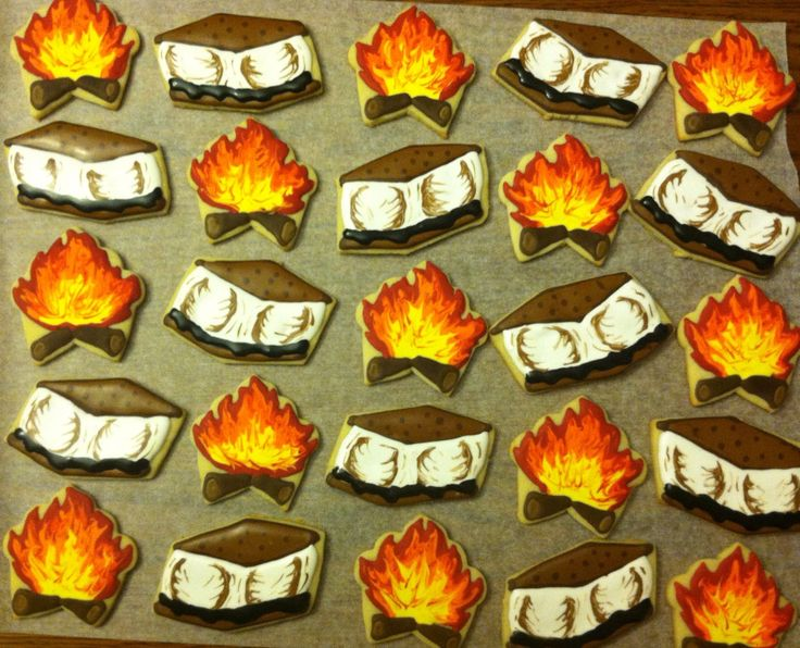 Campfire themed cookies | My Sugar Cookie Creations | Pinterest