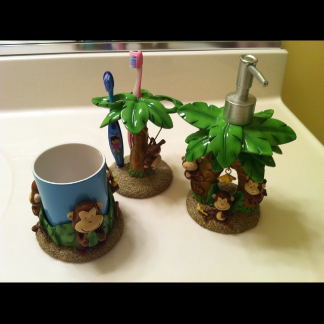 Monkey bathroom decor. | Kids bathroom or half bath