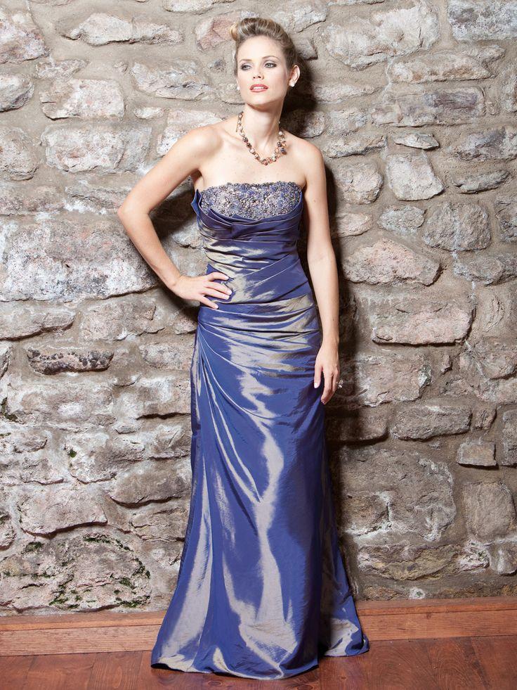 Strapless A-line taffeta bridesmaid gown