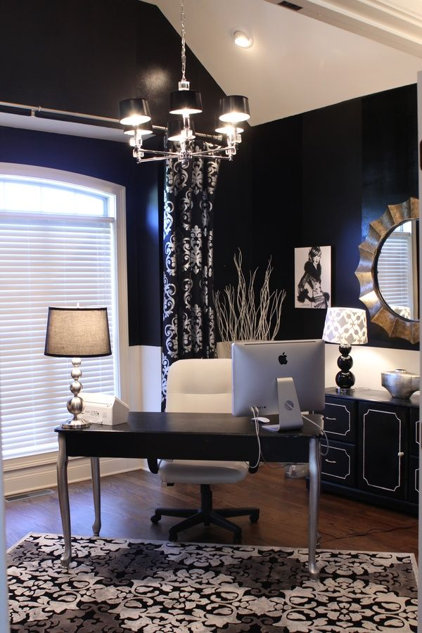 Home office ideas.  Dark blue walls, silver and white accents. Ohhhhh....love this color scheme!!!!