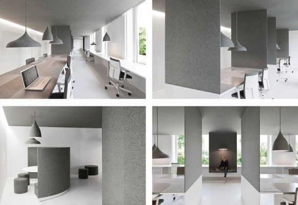 Grey and white corporate color scheme office ideas Gray office ideas