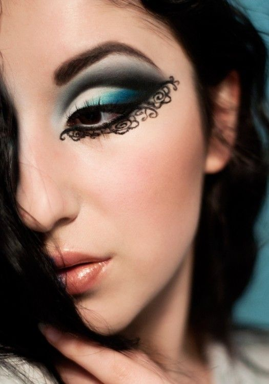 Mehndi Eye Makeup : Lace eye make up would be cool for under a masquerade mask