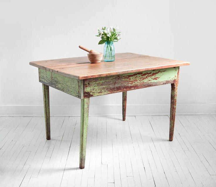 Vintage Wood Farm Dining Table Mid Century Modern Rustic Shabby