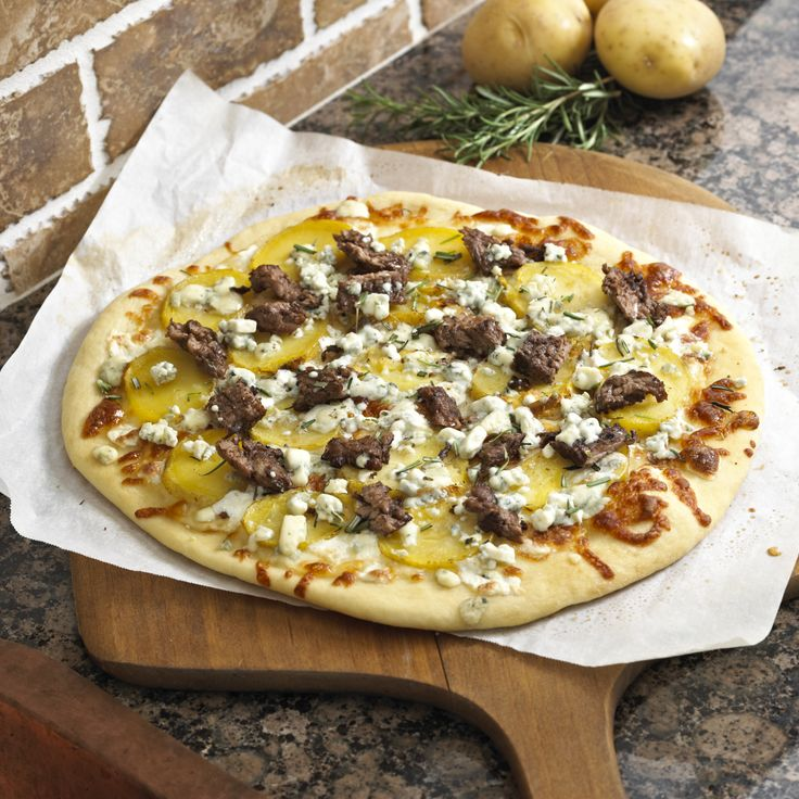 Steak and Potato Pizza with Blue Cheese from Our Family Eats